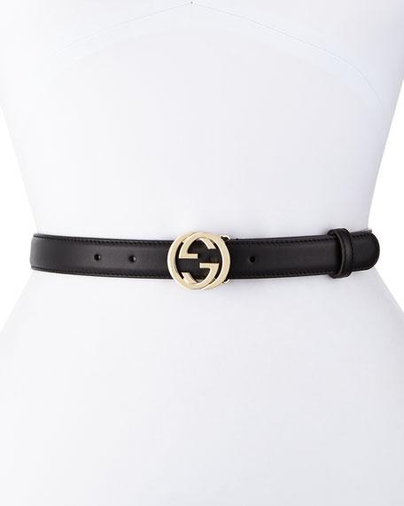 Gucci Interlocking G-Buckle Belt, Black