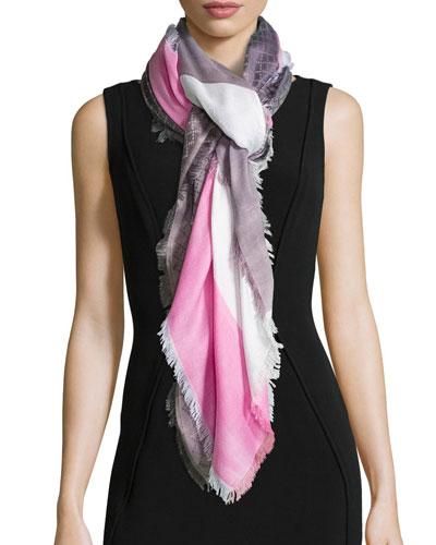 Eufrosine Colorblock Scarf, Pink
