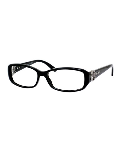 Tortoise Rectangle Fashion Glasses, Black