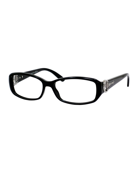 Tortoise Rectangle Fashion Glasses, Black