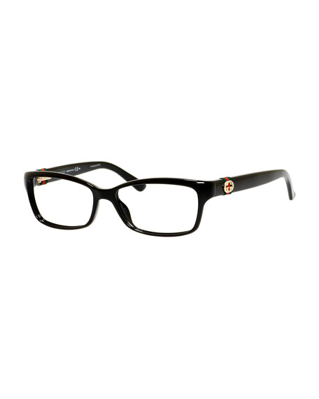 Rectangle Fashion Glasses with Web and Interlocking G, Black