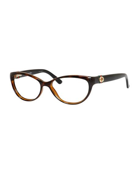 gucci cat eye fashion glasses with web and interlocking g