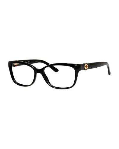 Medium Rectangle Fashion Glasses with Web and Interlocking G, Black