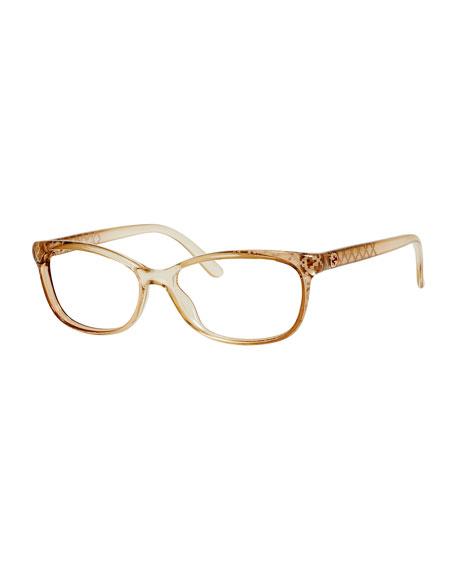 Diamond-Patterned Transparent Fashion Glasses, Beige
