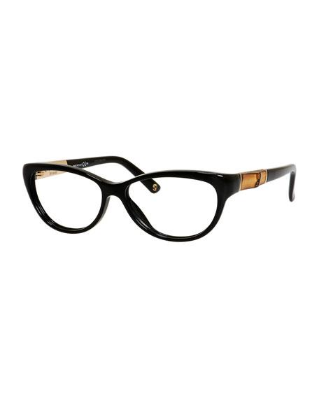 gucci sunsights cat eye fashion glasses with bamboo black