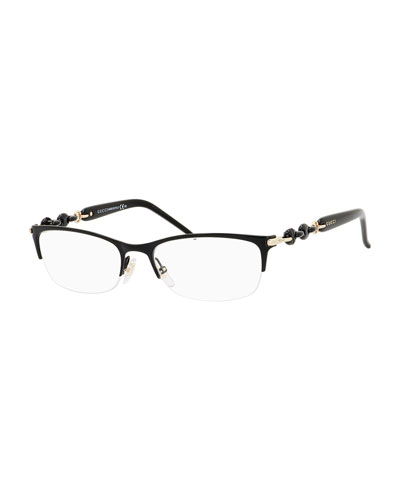 Chain-Detail Half-Rim Fashion Glasses, Black