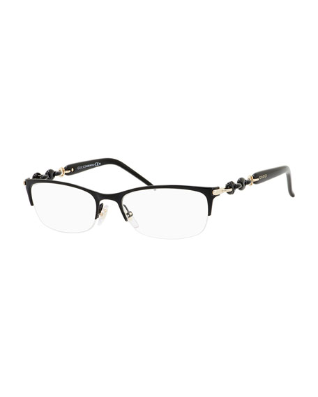 Gucci Wire Eyeglass Frames : Gucci Sunsights Chain-Detail Half-Rim Fashion Glasses, Black