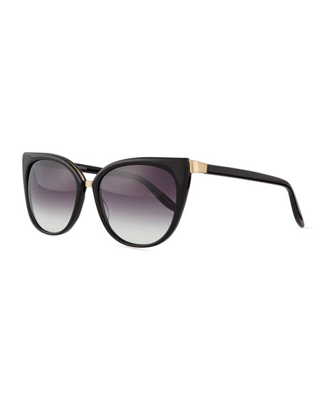 Barton Perreira Ronette Cat-Eye Sunglasses, Black