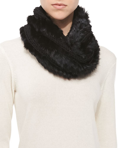 Hat Attack Knitted Rabbit Fur Loop Scarf, Black