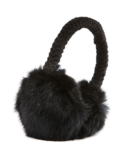 Hat Attack Rabbit Fur Knit Earmuffs, Black
