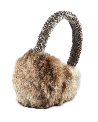 Hat Attack Rabbit Fur Knit Earmuffs, Natural