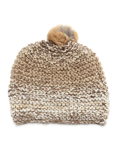 Hat Attack Rabbit Fur Pompom Hat, Natural