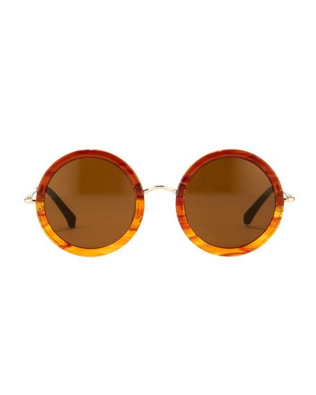 Round Circle Sunglasses, Tortoise