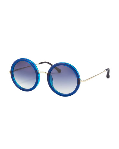 Round Circle Sunglasses, Blue