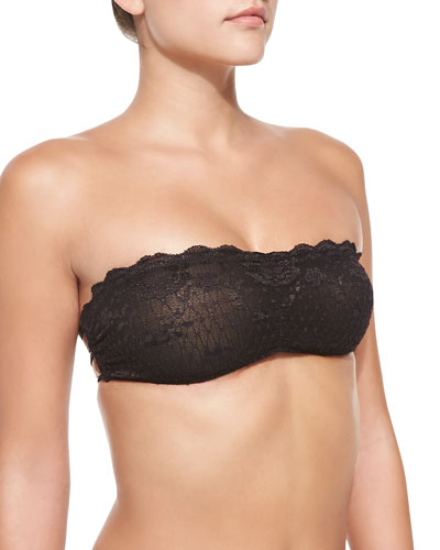 Free People Essential Scalloped Floral-Lace Bandeau, Black