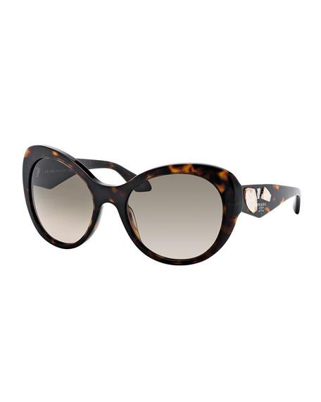Prada Rounded Cat Eye Sunglasses Havana