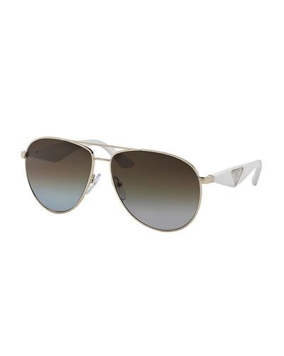 Aviator Sunglasses, Ivory/Light Gold