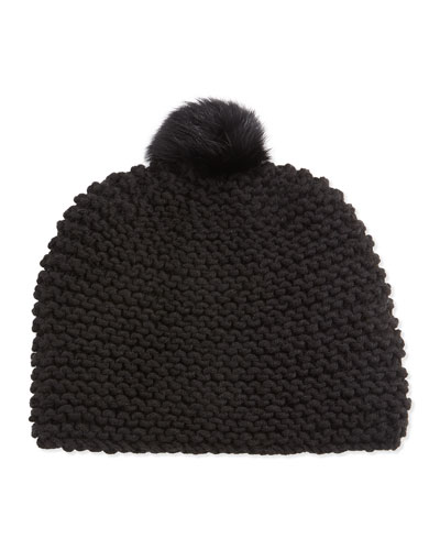 Hat Attack Rabbit Fur Pompom Hat, Black