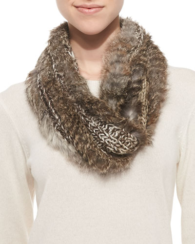 Hat Attack Knitted Rabbit Fur Loop Scarf, Natural