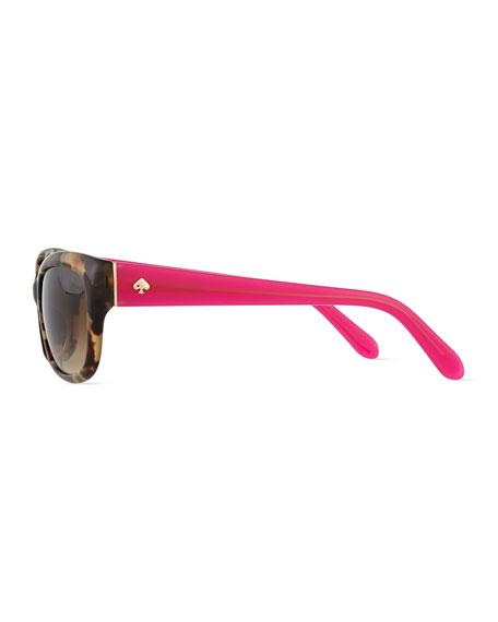 johanna rectangle sunglasses, havana/pink