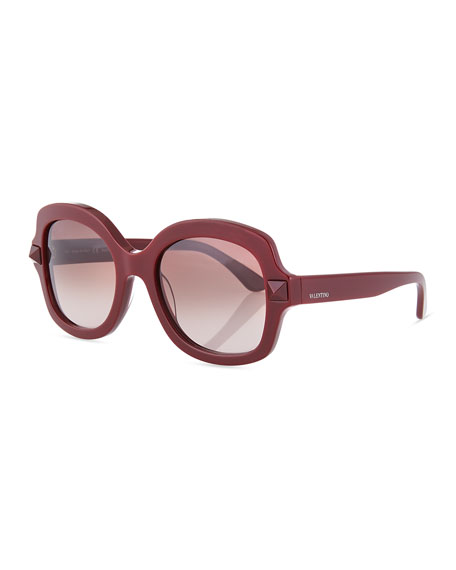 Valentino Tonal Stud Square Sunglasses, Scarlet