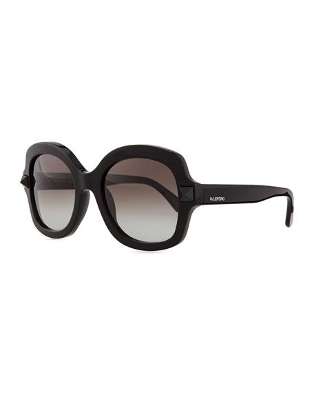 Valentino Tonal Stud Square Sunglasses, Black