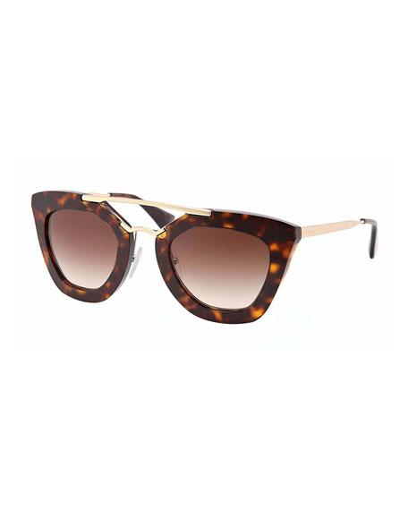 Cat-Eye Double-Bridge Sunglasses, Havana