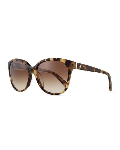 kate spade new york bayleigh butterfly sunglasses, havana