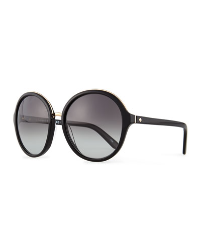 kate spade new york bernadette round sunglasses, black