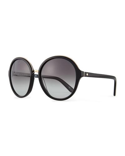 kate spade new york bernadette round sunglasses, black