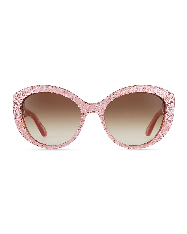 0eaa5181bc99 kate spade new york sherrie cat-eye sunglasses, pink glitter | Neiman Marcus