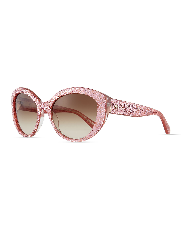 58aad06c2b4b kate spade new york sherrie cat-eye sunglasses, pink glitter ...