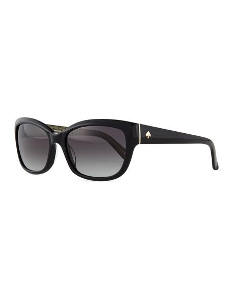 kate spade new york johanna rectangle sunglasses, black