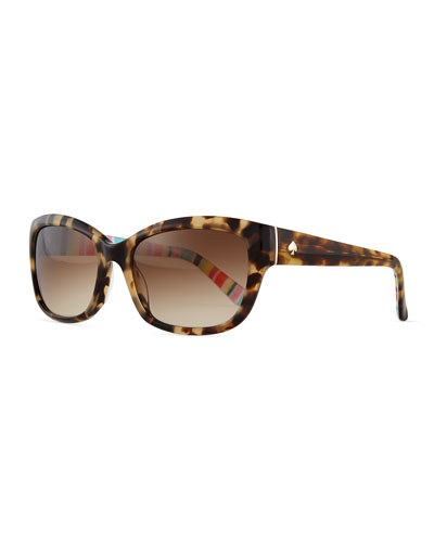 johanna rectangle sunglasses, havana tortoise