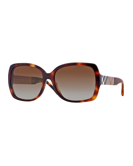 Burberry Oval Havana Sunglasses with Check Arms