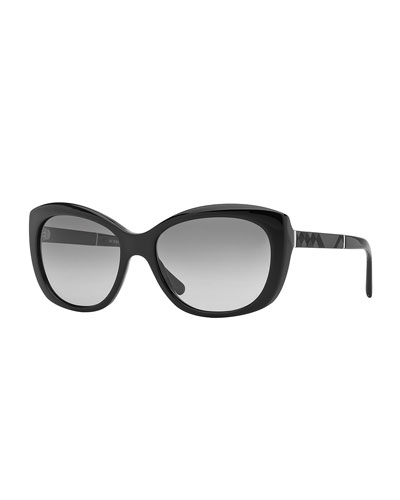 London Oval Sunglasses, Black