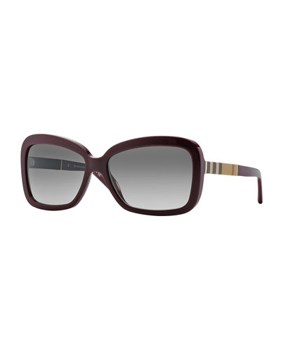 London Rectangle Sunglasses, Wine