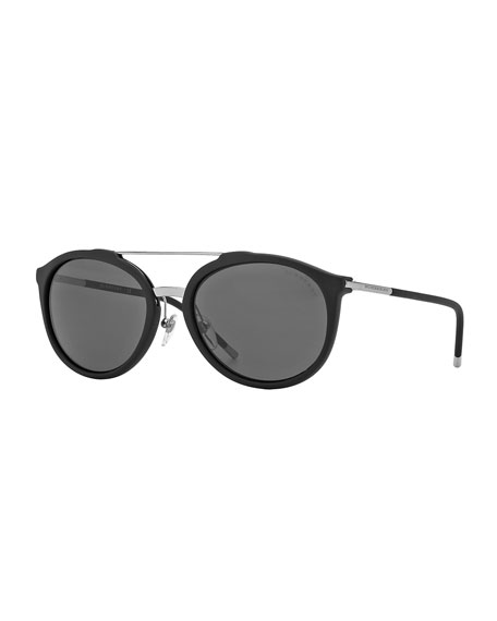 Burberry Brit Tubular Aviator Sunglasses, Black/Silver