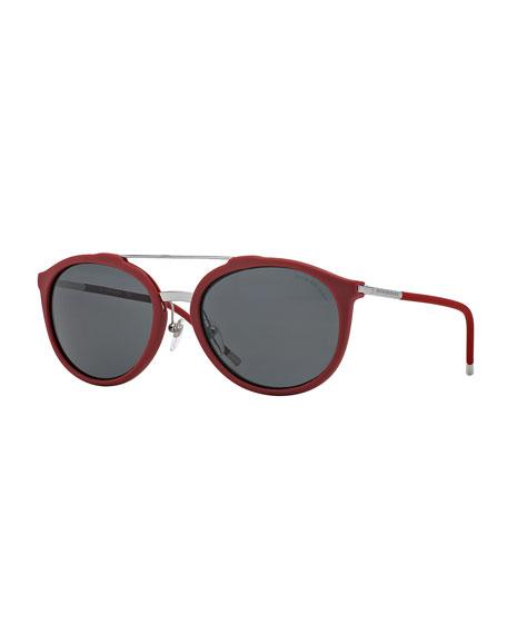 Brit Tubular Aviator Sunglasses, Black
