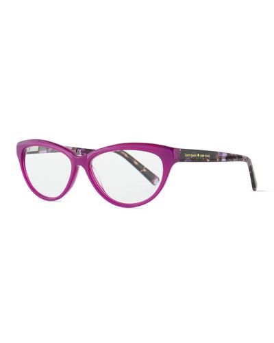 kate spade new york abena cat-eye reader glasses, purple