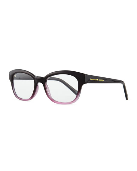 kate spade new york amilia rectangle readers, black/pink