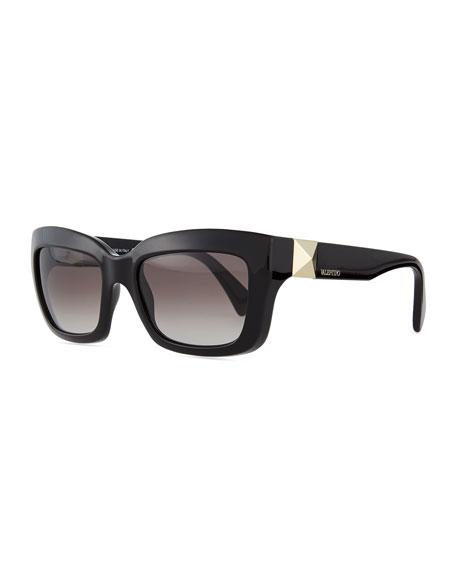 Valentino Rockstud-Temple Rectangular Sunglasses, Black