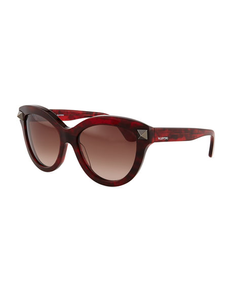 Valentino Rockstud-Temple Cat-Eye Sunglasses, Red Havana