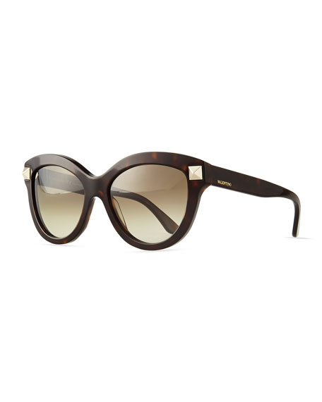 Valentino Rockstud-Front Cat-Eye Sunglasses, Havana