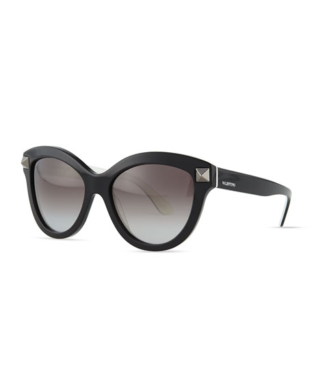 Valentino Rockstud-Front Cat-Eye Sunglasses, Black