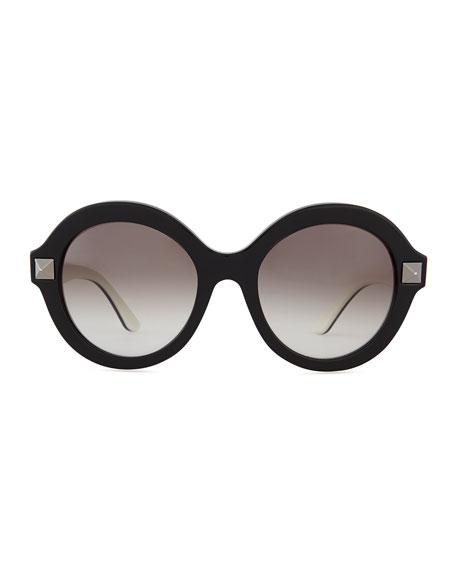 Rockstud Round Sunglasses, Black