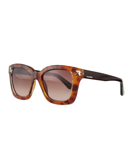 Valentino Rockstud Square Sunglasses, Blonde Havana Tortoise