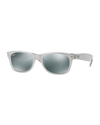 New Wayfarer Mirrored Sunglasses, Silver