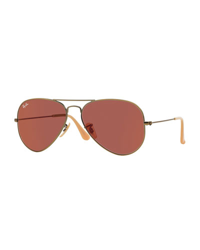 Mirrored Aviator Sunglasses, Red