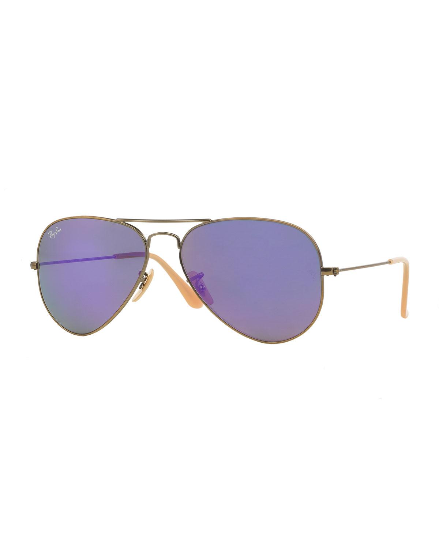 56b87057bda93a Ray-Ban Mirrored Aviator Sunglasses, Purple   Neiman Marcus